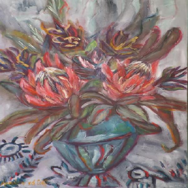 Protea still life - original south african art
