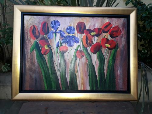 Reduced striking colourful & textured very large framed