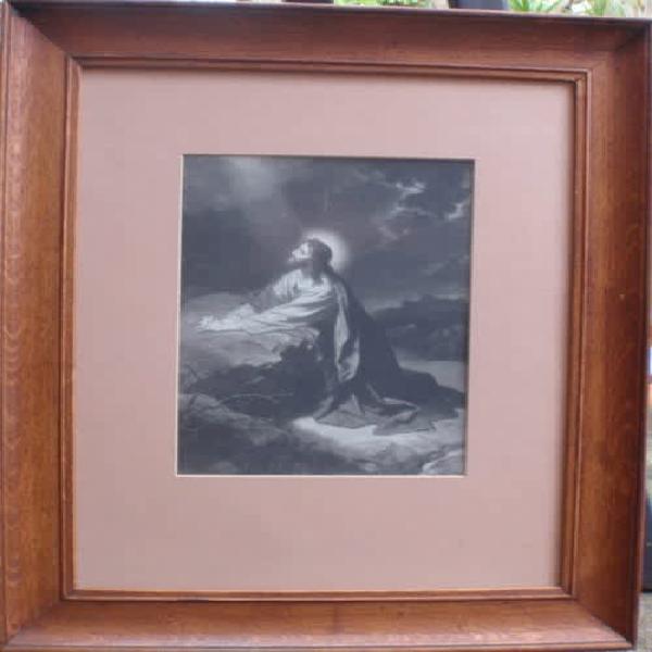 Vintage print - jesus in the garden of gethsemane - in oak