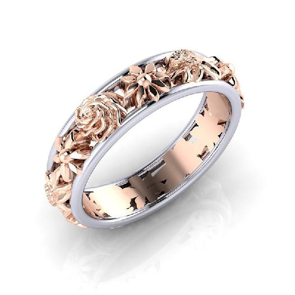 Fashion double color flower finger ring round shape rose