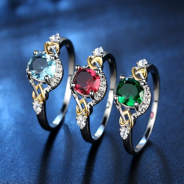 Fashion finger ring double heart colorful micro zircon rings