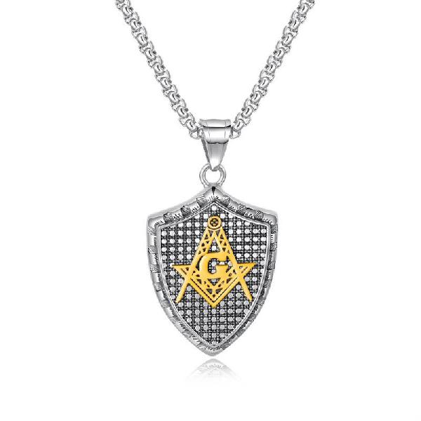 Fashion pendant necklace geometric shield stainless steel