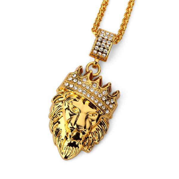 Hip hop fashion gold chain king crown lion head pendant