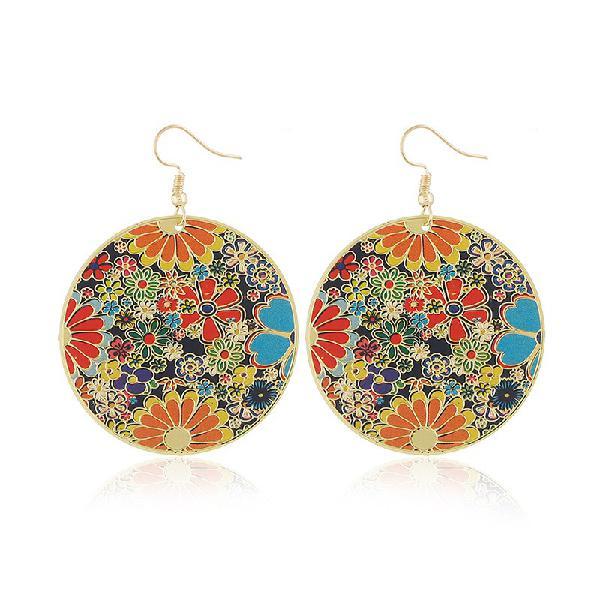 Retro style round flower earrings round sheet ethnic style