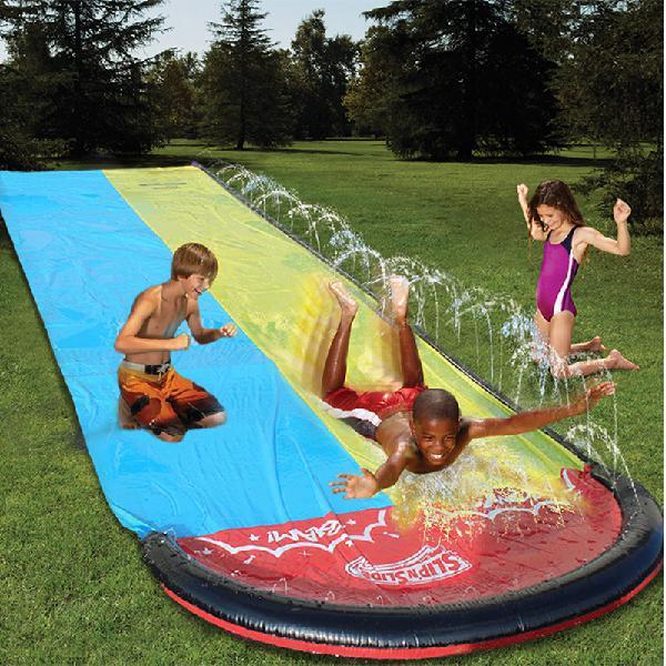 Inflatable double water slide fun outdoor splash slip for