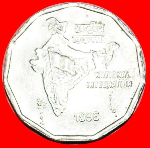 MAP: INDIA 2 RUPEES 1996 CALCUTTA MINT LUSTER!