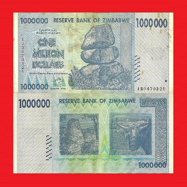 ZIMBABWE 1 Million Dollar Banknote Serial AB0470321