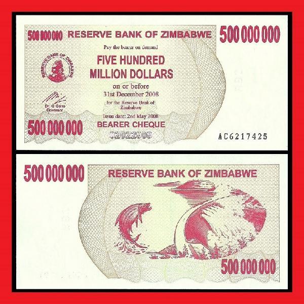 ZIMBABWE UNCIRCULATED 500 MILLION DOLLAR BEARER CHEQUE