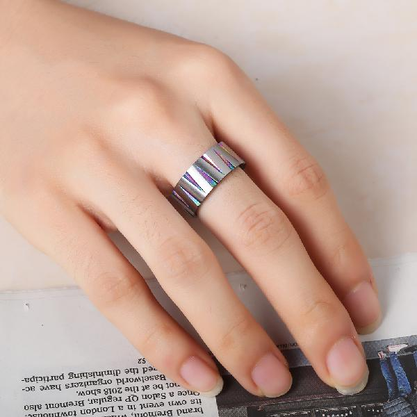 Punk Colorful Wire Drawing Stainless Steel Finger Ring