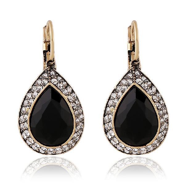 Retro Black Crystal Earring Long Style Rhinestone Ear Drop