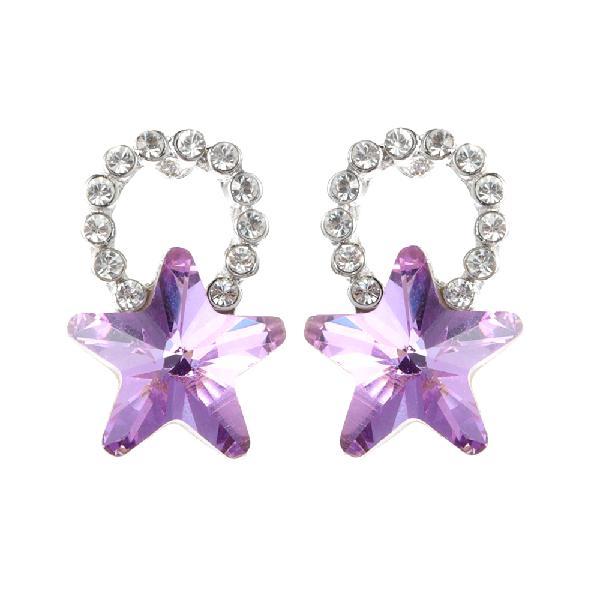Fashion silver earring blue purple colorful stars ear stud