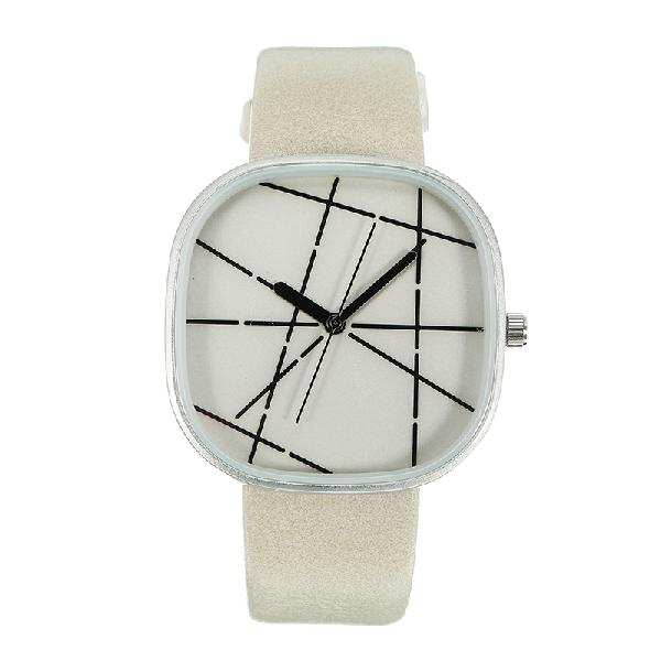 Fashion unisex watches simple square creative dail leather