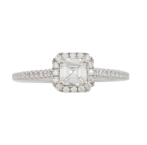 0.30ctw princess cut cz ring in 925 sterling silver- size