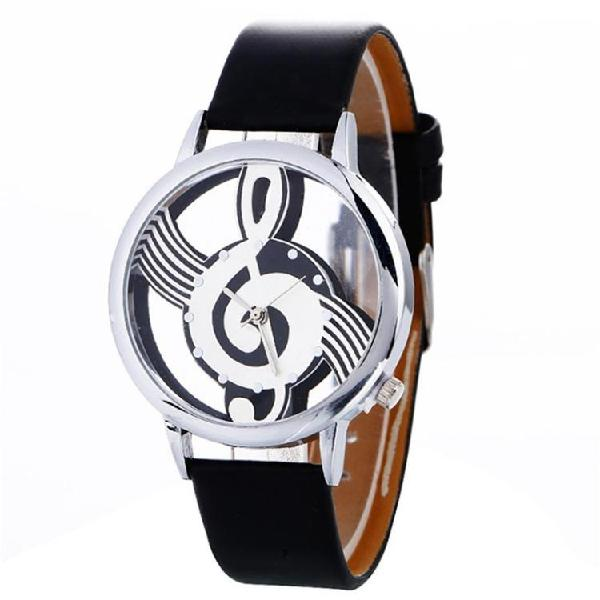 Musical notation shaped dial leather belt quartz watch for