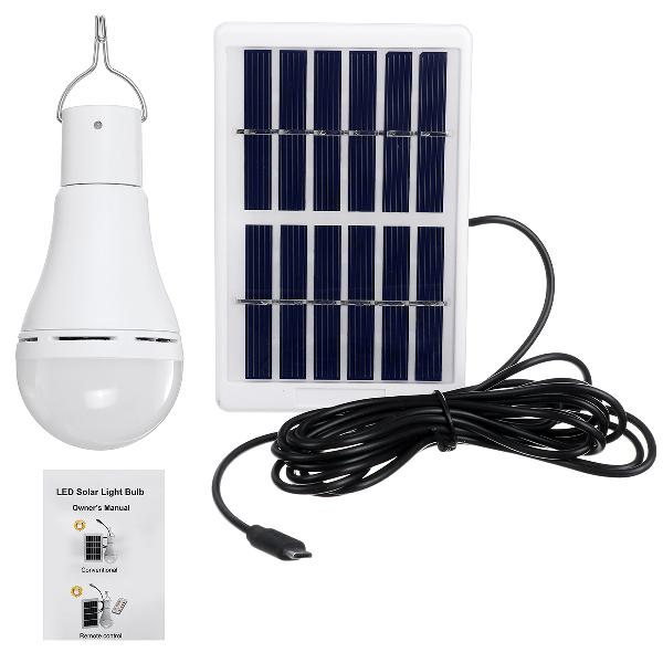 Portable solar powered led light bulb remote control 7w 9w