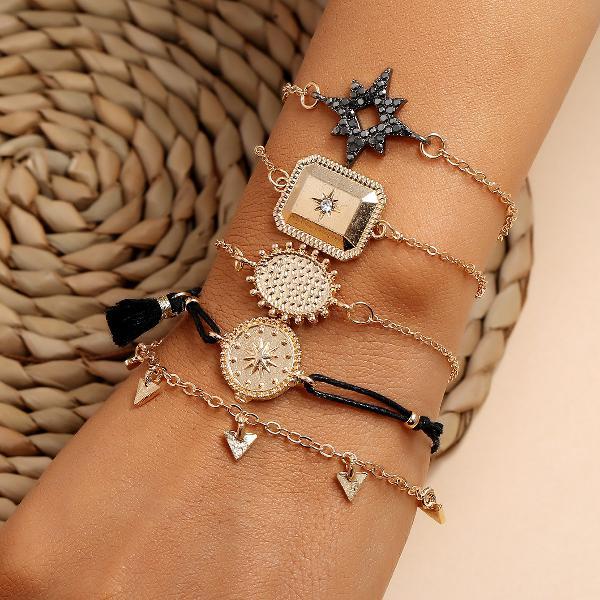 Women Fashion Multi-Layer Bracelet Geometric Diamond Hexagon