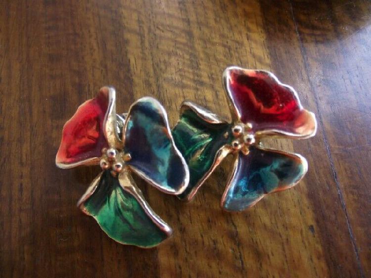 Beautiful old earrings. enamel coated flower. pierced ears