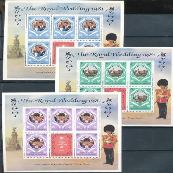 Maldives - 1981 - royal wedding set in full mini-sheets fine