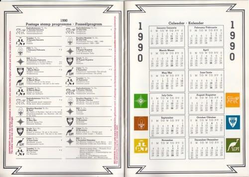 Rsa stamp programme 1990: incl. homelands - 8 colour pages