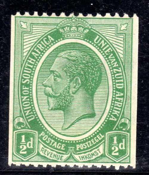 South africa 1913 defin 1/2d coil stamp with join lmm. sacc
