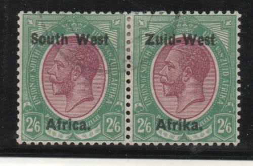 South west africa 1923 hyphenated defin 2/6d pair vfu. sg 9.