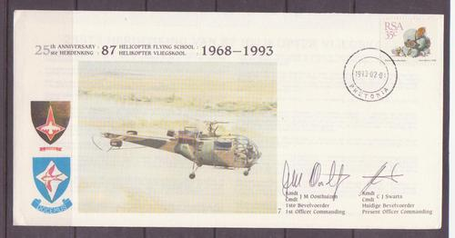 Signed by 2 - sa airforce 3rd series no.7.....helicopter