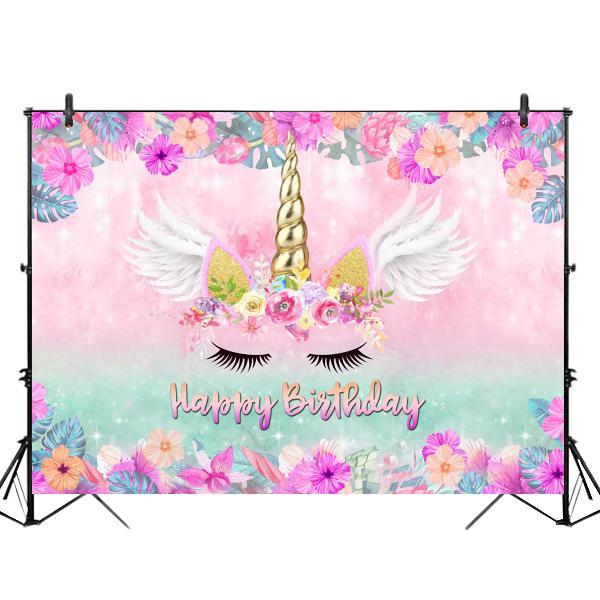 Size s)5x3ft 7x5ft 9x6ft vinyl pink unicorn happy birthday