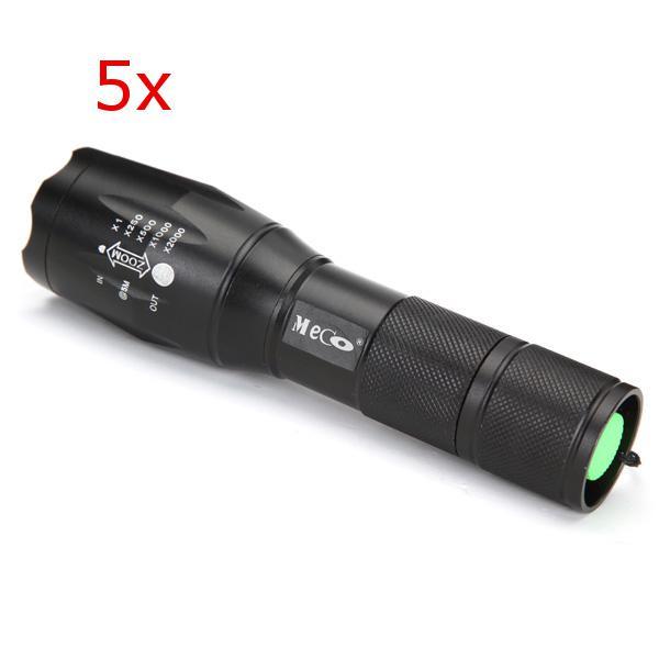 5pcs meco xm-l2 2000lm 5modes zoomable led flashlight