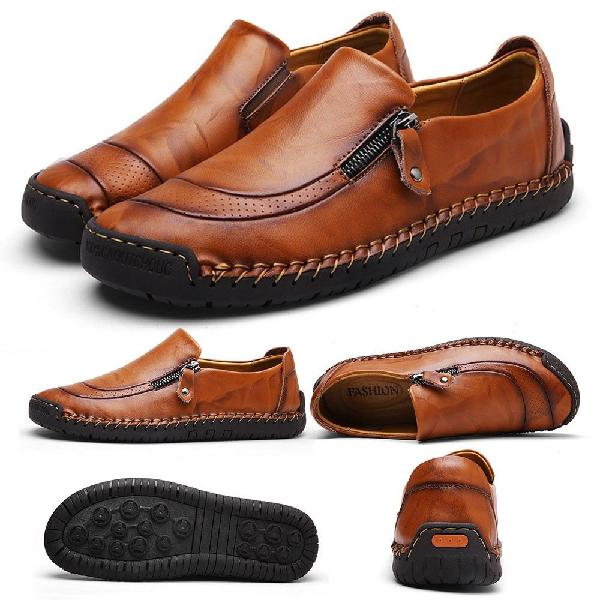 Fashion mens leather casual zipper shoes breathable antiskid