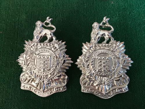 Admin services corps,chromed collar badge pair -pins