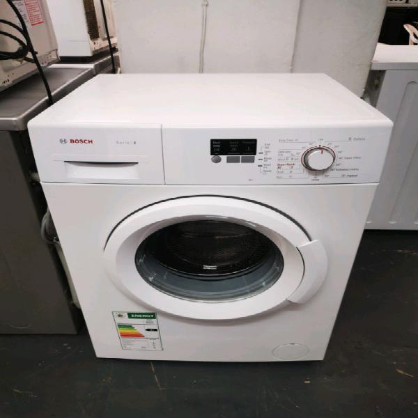 White bosch front loader washing machine
