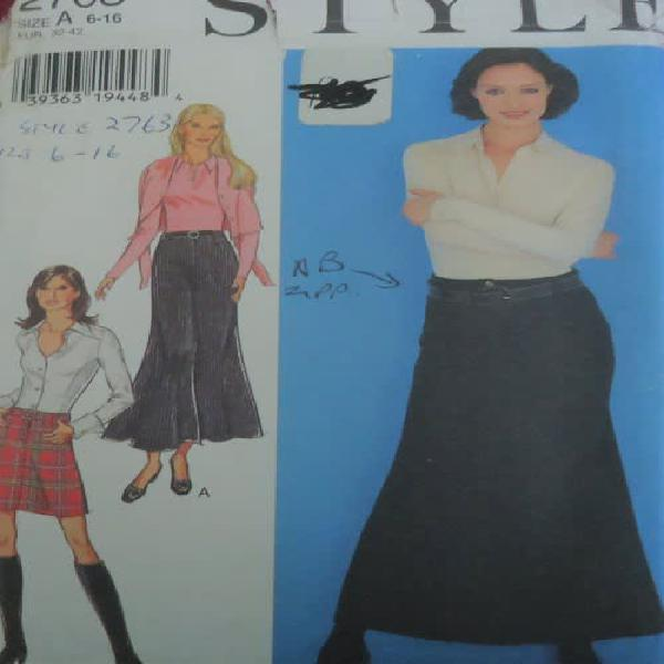 Style patterns 2763 long & short skirt + belt size a = 6 -