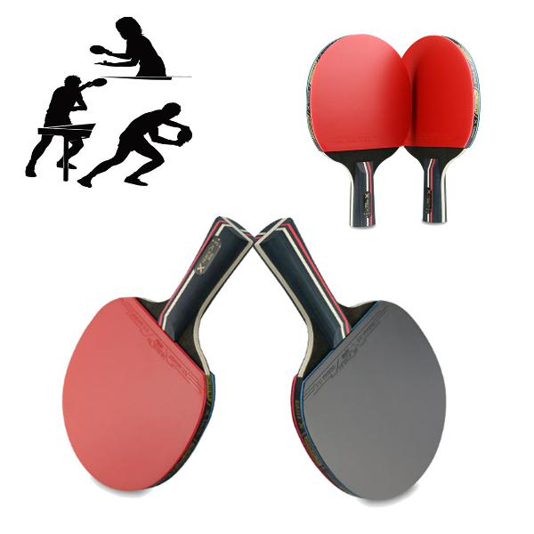 1 pair table tennis racket wood rubber long/short handle