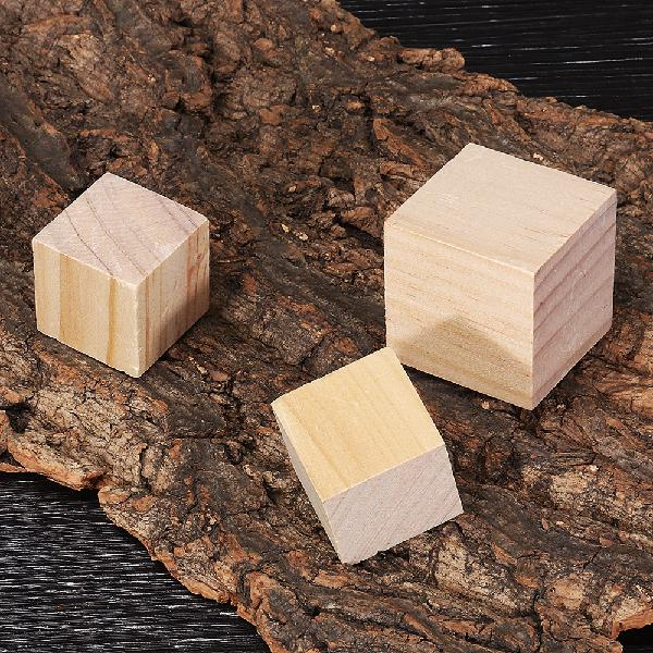 Size 3)1.5 2 3 4cm Pine Wood Square Block Natural Soild