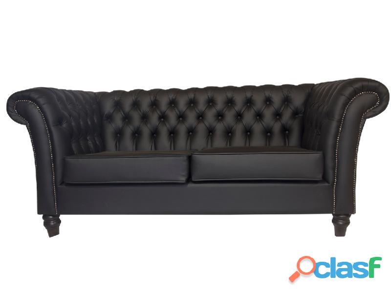 Buy Chesterfield 2 Seater Sofa   Black PU Leather   HG BAVA CC