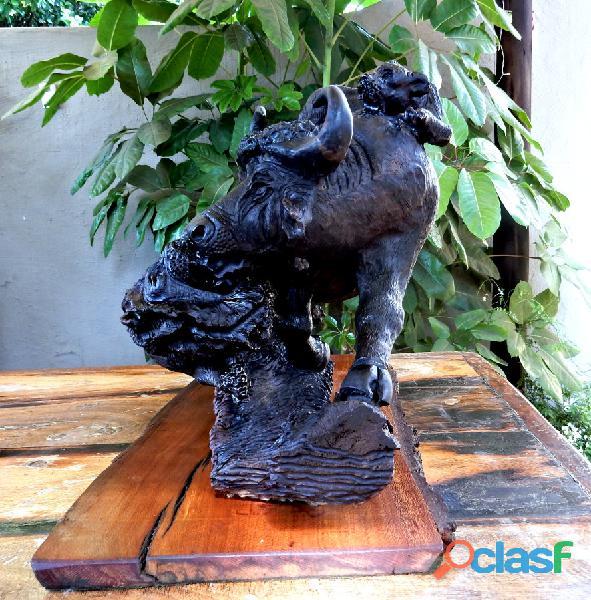 Ironwood Buffalo Carving 1