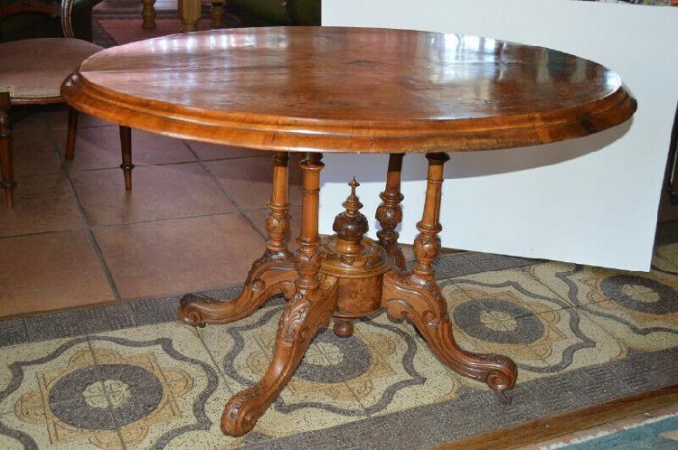 Victorian inlaid burr wallnut tilt top loo breakfast table